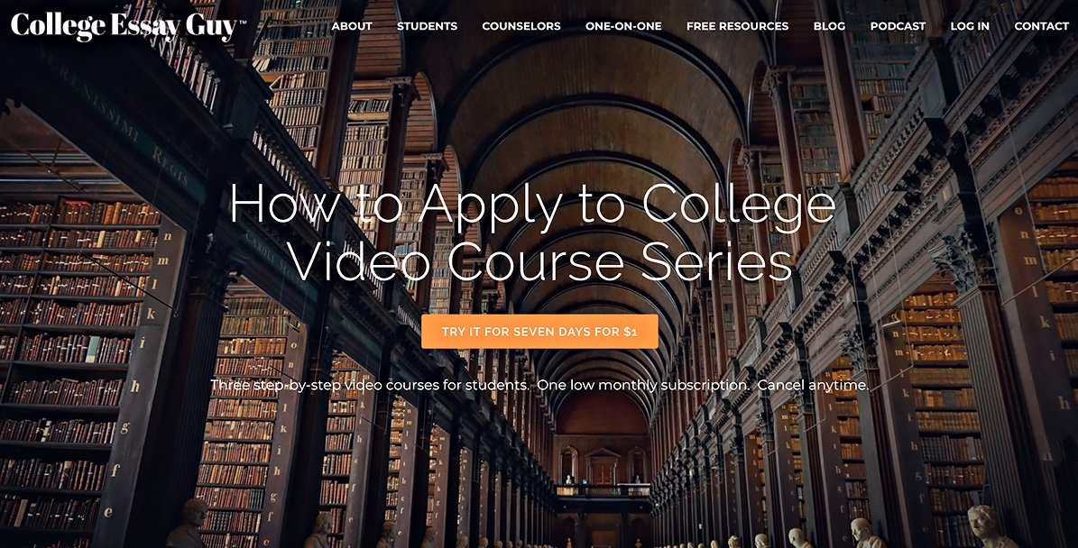 Applying to college this fall? Take my step-by-step video course for a week for just $1! goo.gl/7gskf9