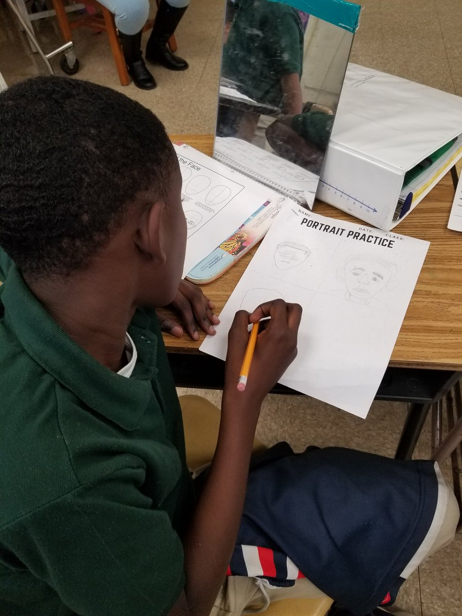 Students in 6th grade engaged today in sketching self portraits using direct observation and facial proportions. SWA artists are so awesome! #arted #arteducation #teambcps @Arts_SWA @SwaMagnet @dsmith814