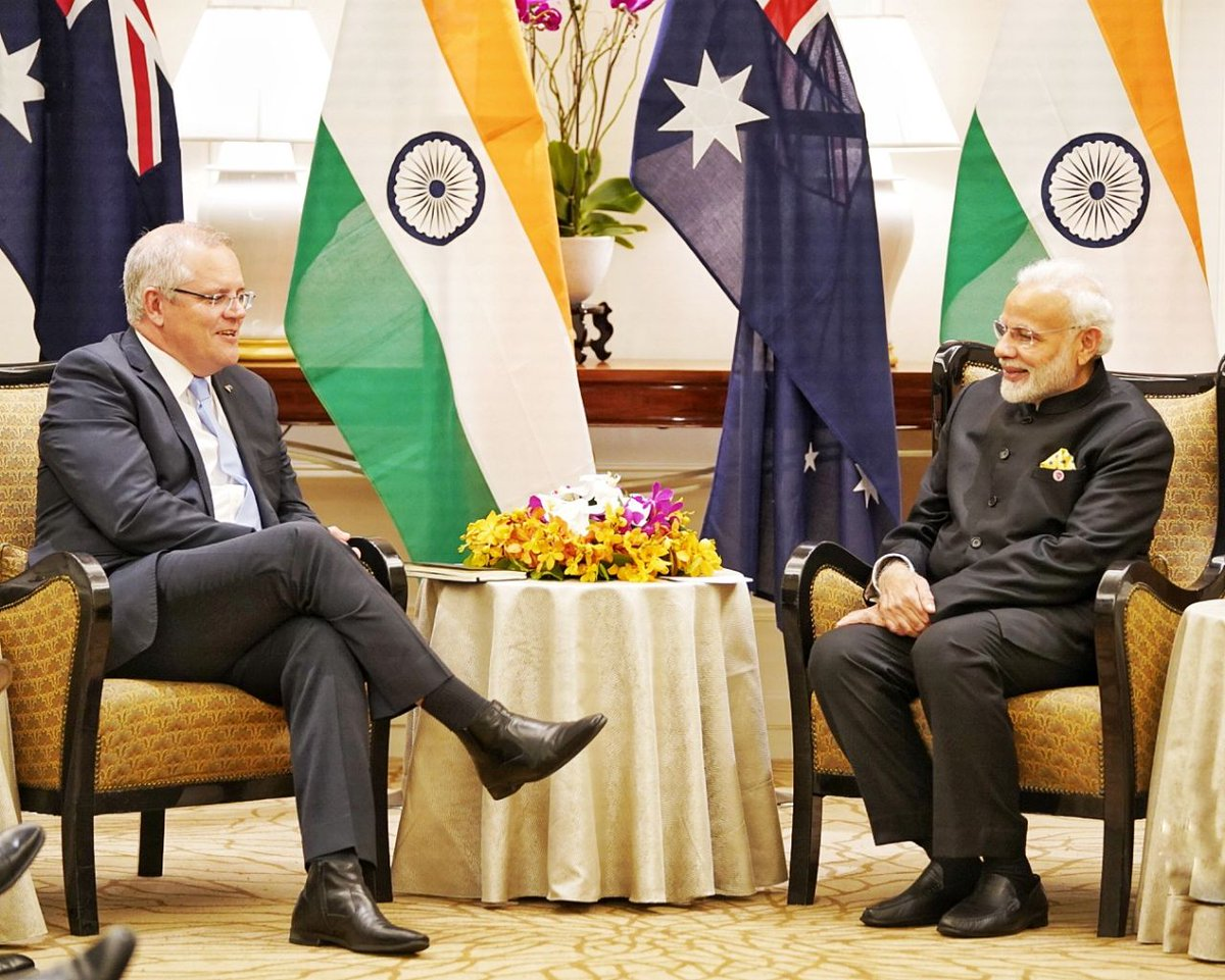 Accelerating friendship with Australia.  A fruitful meeting between Prime Ministers @narendramodi and @ScottMorrisonMP in Singapore earlier today.