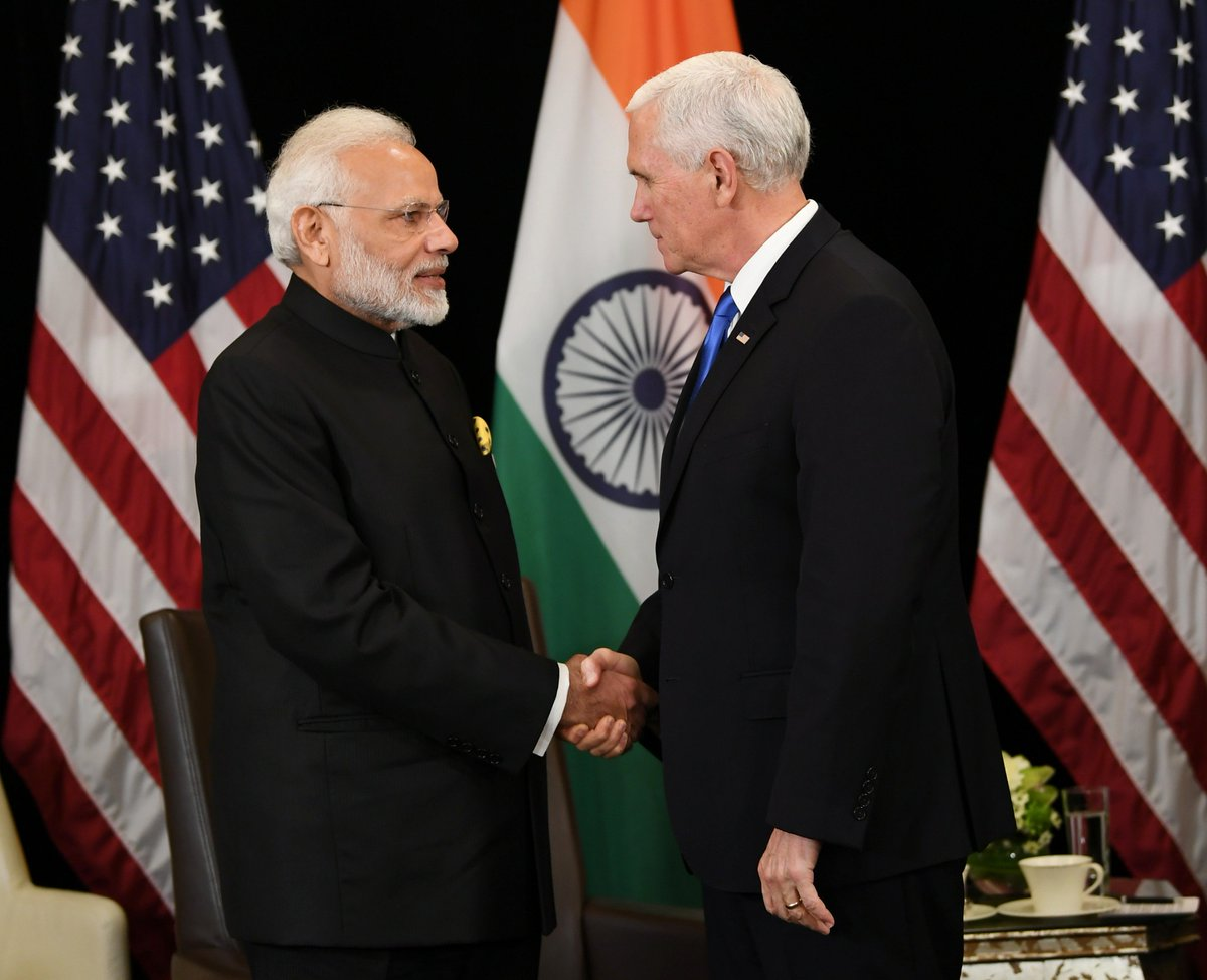 In Singapore, PM @narendramodi had productive deliberations with @VP @mike_pence.   The two leaders discussed bilateral ties as well as other global issues.