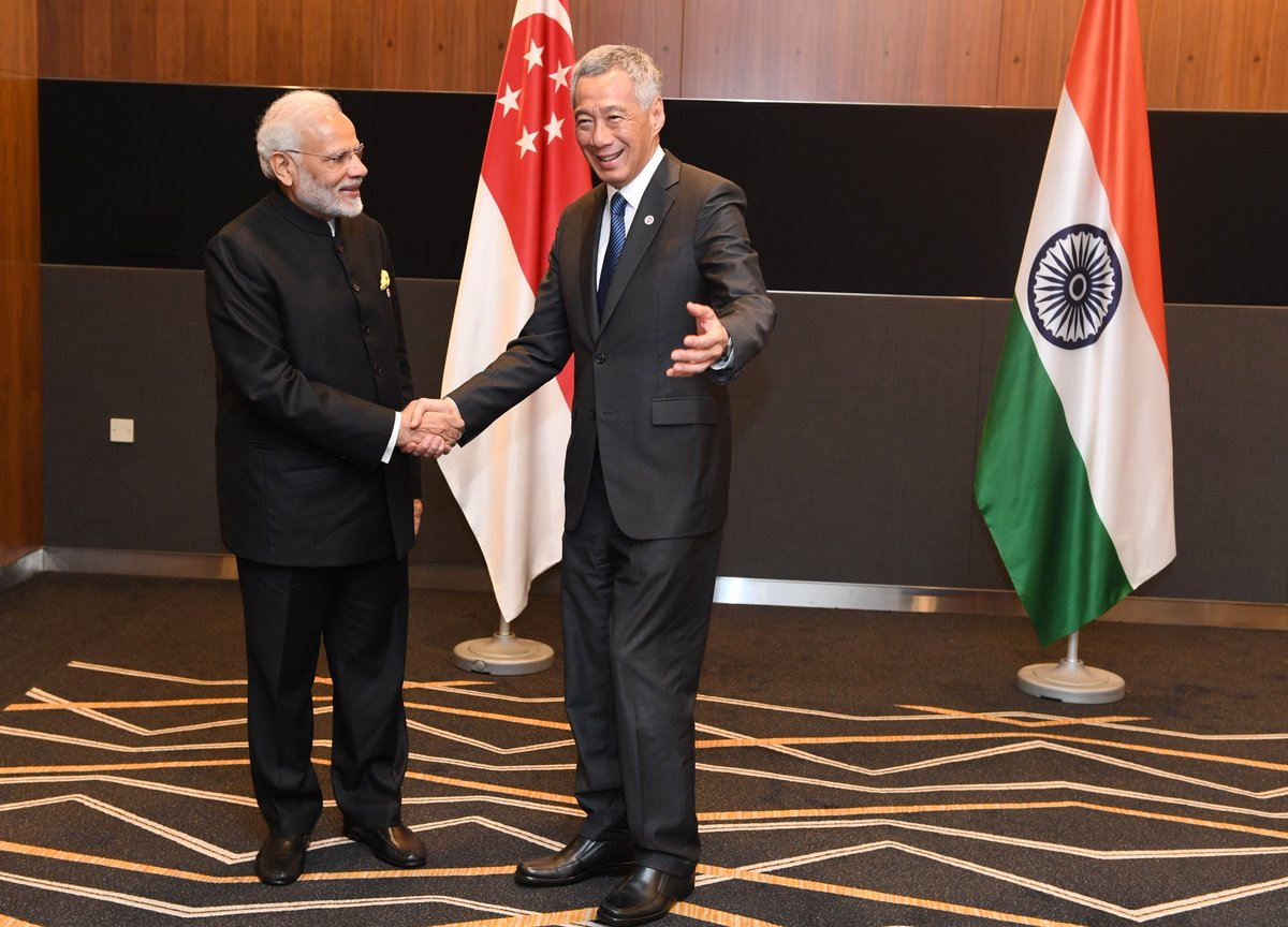 A very good meeting between Prime Minister @narendramodi and Mr. @leehsienloong.  Subjects pertaining to India-Singapore relations, particularly trade and people-to-people ties were discussed during the meeting.