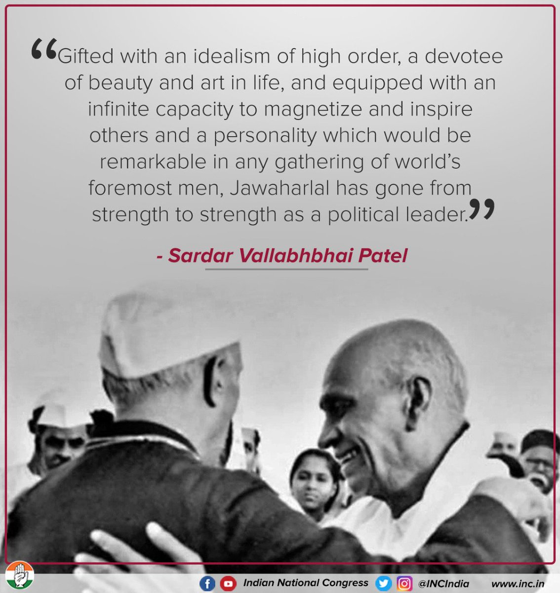"""Sardar Vallabhbhai Patel once said of Pt. Jawaharlal Nehru, """"Only I know how much Nehru has toiled for India"""". Such was the bond they shared, filled with love, admiration & brotherhood.   #RememberingNehru"""