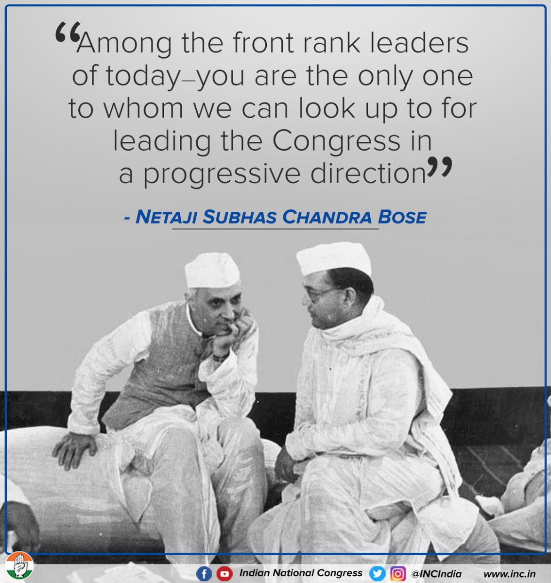 The relationship shared between Netaji Subhas Chandra Bose & Pt. Jawaharlal Nehru was that of mutual respect, intellectual parity & a friendship that would withstand time.   #RememberingNehru