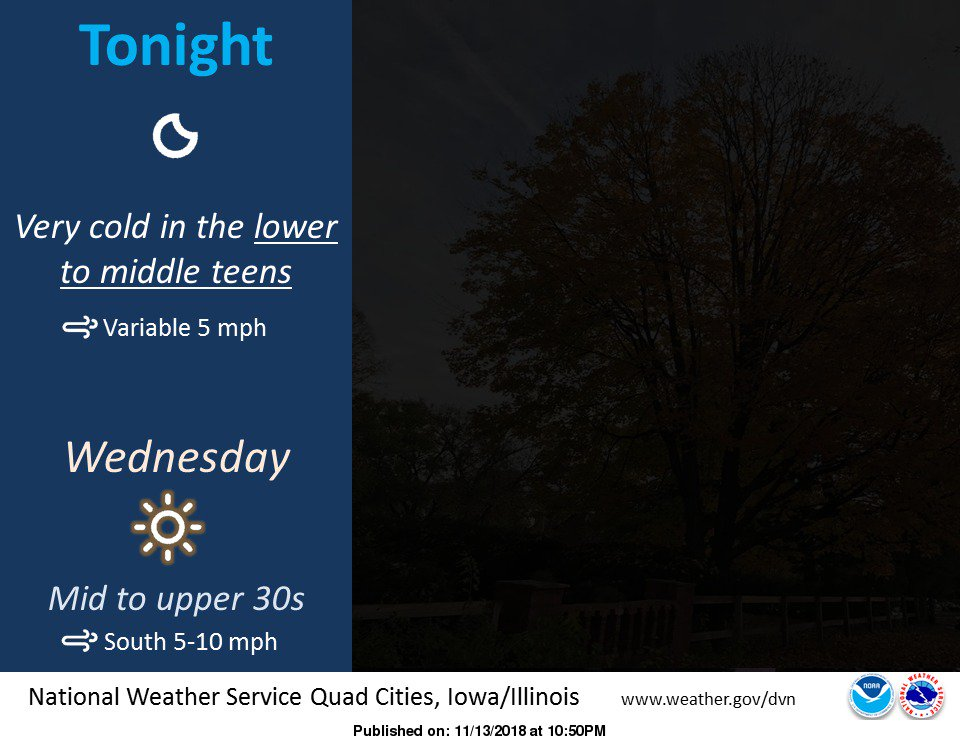 Another very cold mid November night is in store for eastern Iowa and northwestern Illinois. #iawx #ilwx #mowx #cold