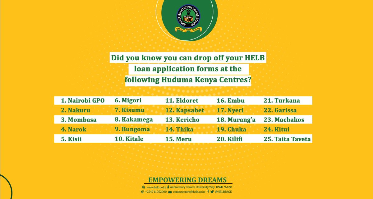 pay us a visit at anniversary towers helbs students service centre m1 floor or select huduma centres to submit your duly filled loan application form
