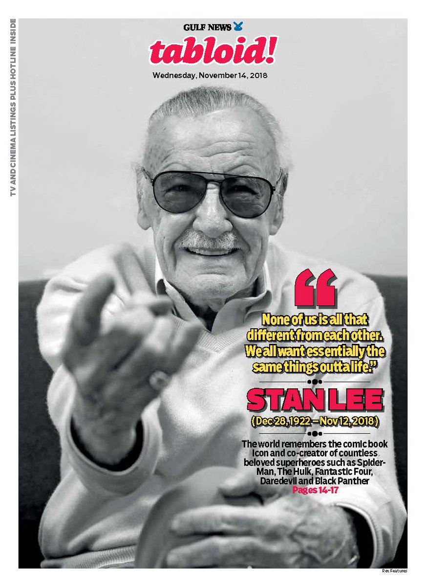 'Nobody is all good, or all bad.' Today we pay homage to man and the legend that was #StanLee https://t.co/GbUkYtoFvB #TabloidCover