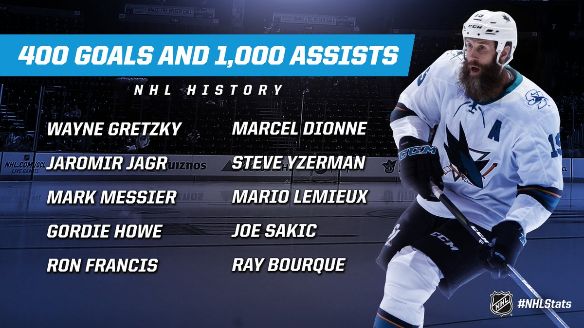 Joe Thornton became the 11th player in NHL history to record at least 400 goals and 1,000 assists. #NHLStats #NSHvsSJS | theScore.com