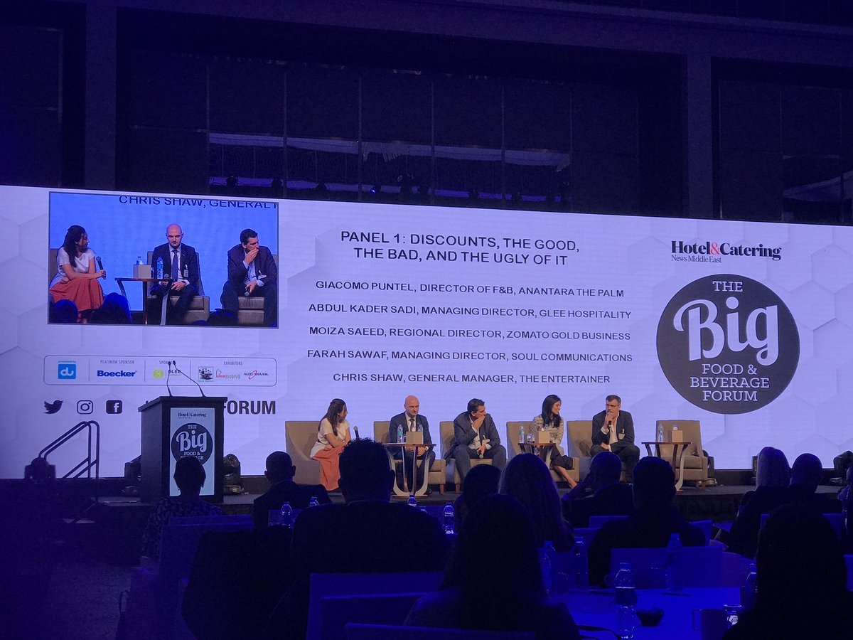 Very interesting discussion on discounting in the hospitality industry IN Dubai - 91% of diners are looking for a deal - wow! #BIGFNBFORUM @GLEEHospitality @ZomatoUAE