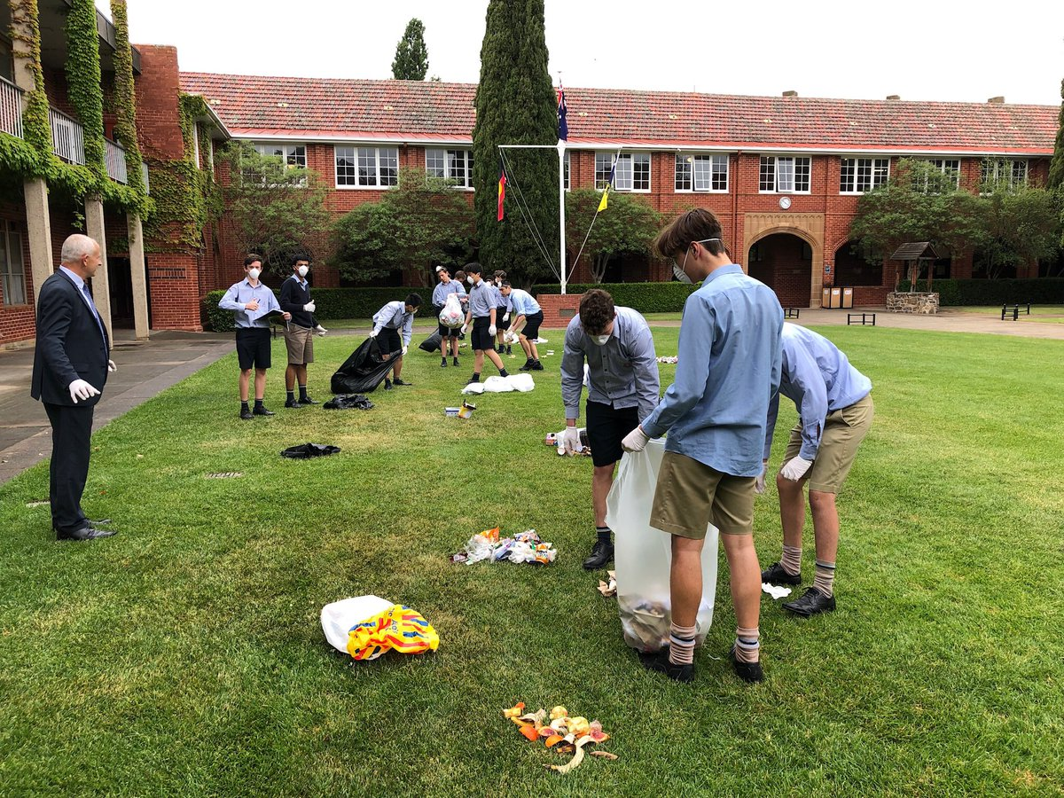 Year 10 War on Waste at Canberra Grammar: sorting the recyclables from the rubbish in the Quad.  All credit to the team doing the dirty work... but I have to say the results suggest we could do better. Is it really that hard to recycle?  Come on CGS.  We can do it properly.