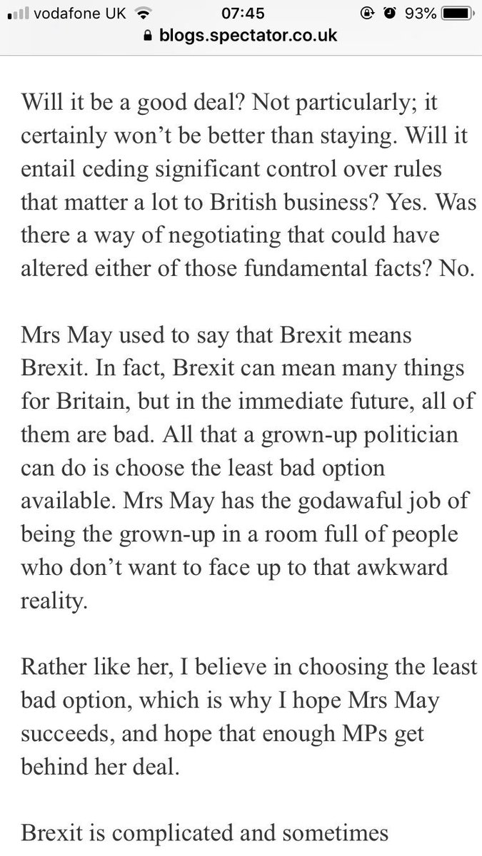Theresa May's Brexit deal is the least bad option now open to the UK.  There was never a better deal to be negotiated. Time for MPs to grow up and accept the facts. https://t.co/FewTopSRI0