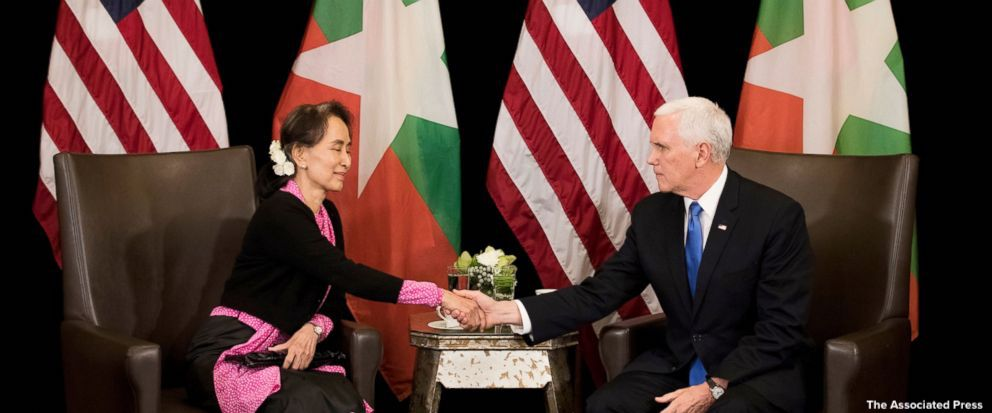 Vice Pres. Mike Pence tells Myanmar's leader Aung San Suu Kyi that her government's treatment of its ethnic Rohingya Muslims is 'without excuse.' https://t.co/ic8FSTHyPv