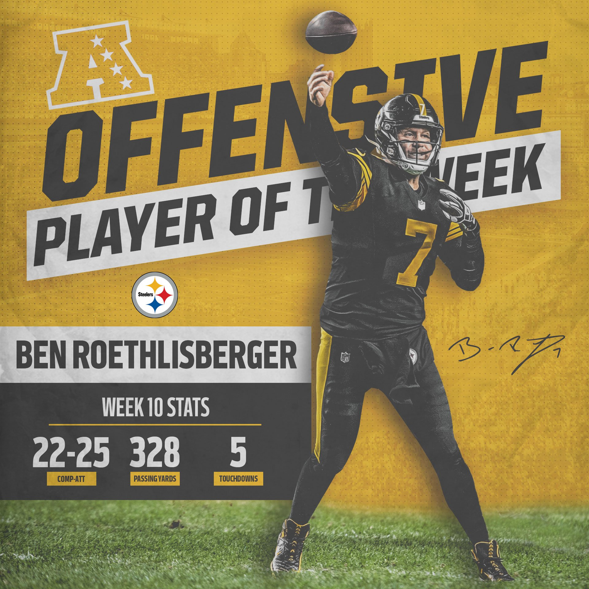 Ben Roethlisberger has been named AFC Offensive Player of the Week. ��  MORE: https://t.co/nqVW40iXnO https://t.co/RMYQWAMOC7