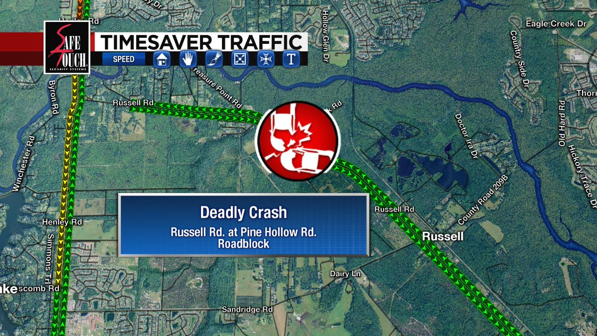 CLAY CO: Deadly crash along Russell Rd. at Pine Hollow Rd. east of Henley Rd. Lanes blocked, FHP and Rescue on scene. AVOID AREA! #CrystalsCruisers @wjxt4<br>http://pic.twitter.com/WPZIPORmBq