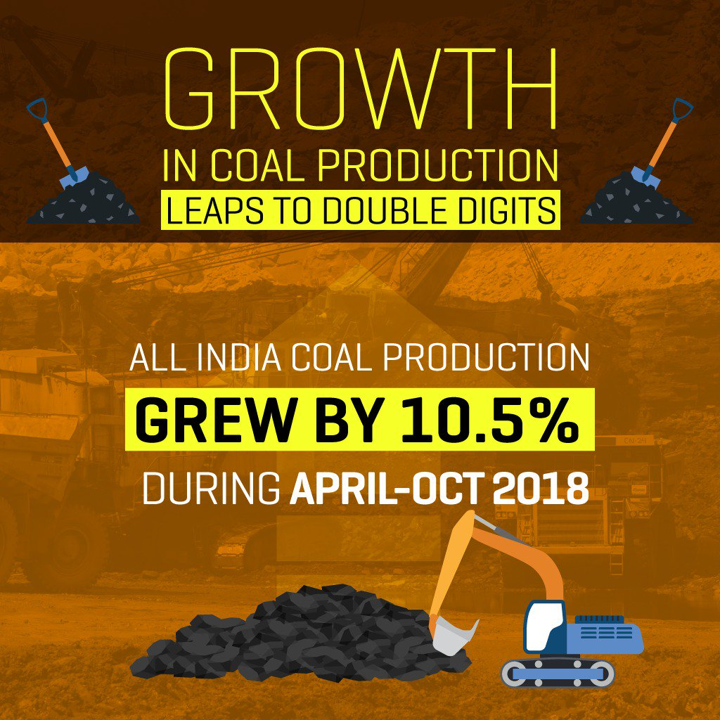 On the back of an economic upswing seen across all sectors, All India Coal Production has grown at a rate of 10.5% up to October 2018, a double digit growth rate for the first time in 20 years that reflects our commitment to meet the energy needs of a rapidly growing economy.