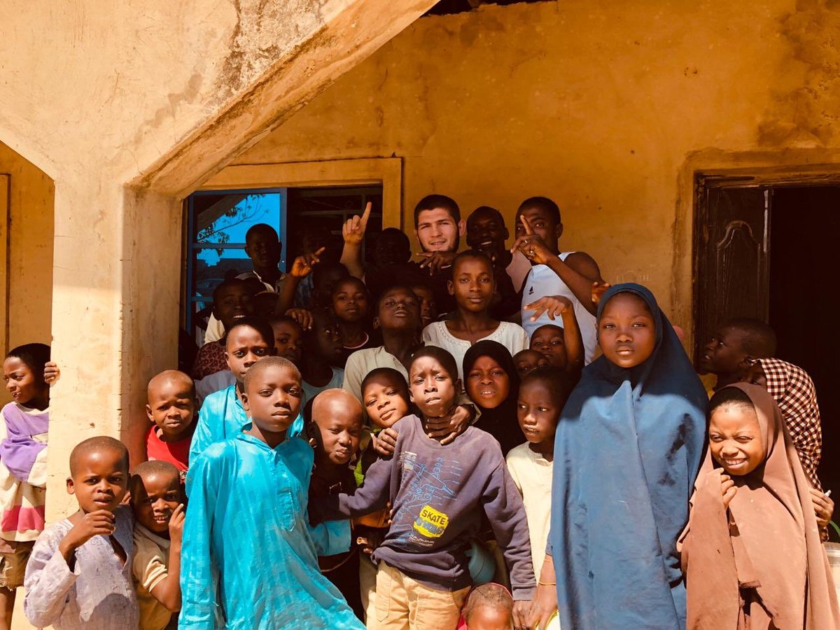Championship work 🇷🇺 🇳🇬 @TeamKhabib's charity work extends to Nigeria as he helps build medical facilities and fix water wells around the area 🏆