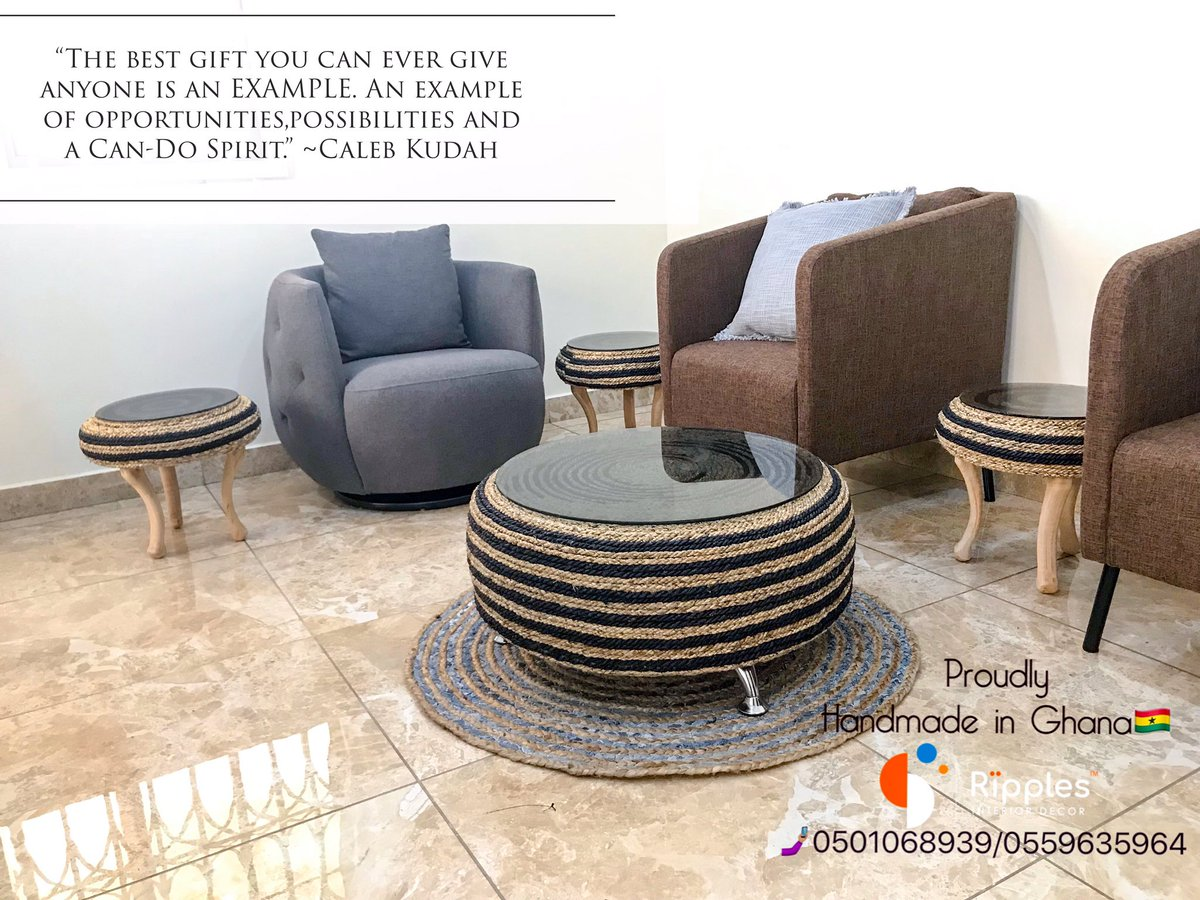Ripples Decor Design On Twitter This Is A Set Of 4 Tables 1 Center Piece And 3 Coffee Side Tables Hand Made From Old Car Tires On The Streets Of