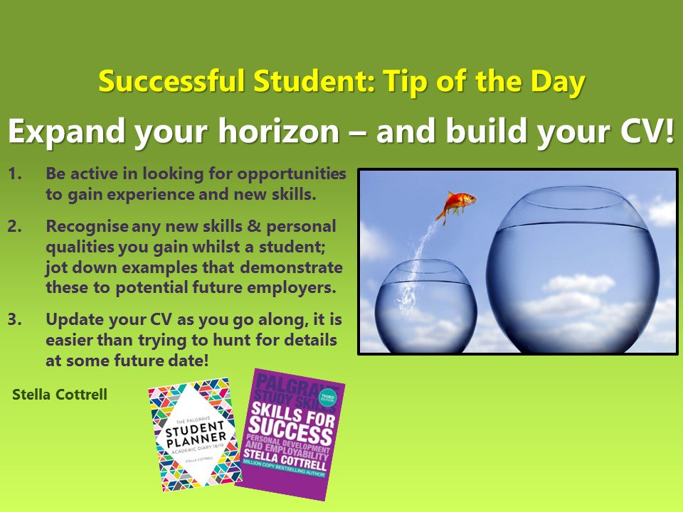 #SuccessfulStudent Expand yr horizons - to build yr CV &amp; employability #student #Students #studentlife #study #studying #studygram #studyplus #college #collegelife #employability #careers #unilife #uni<br>http://pic.twitter.com/TXeWxRRBez