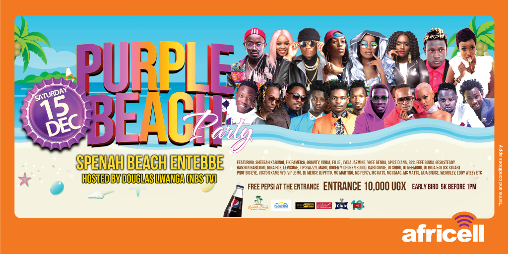 After four tours across the country, @DouglasLwangaUg has one major #PurpleParty for y'all people of the Central region. It's happening on Saturday December 15th at Spenah Beach. Mark your Calendars.