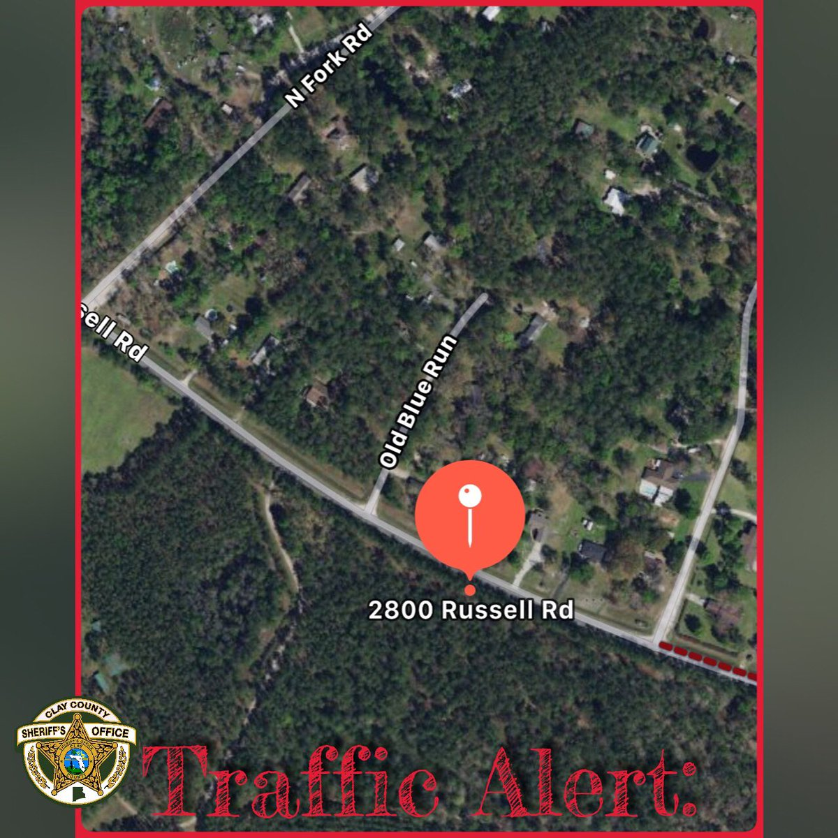 TRAFFIC ALERT: We are assisting Florida Highway Patrol on a serious traffic crash, near the 2800 block of Russell Road. The entire roadway n that area is closed down, so please seek an alternate route if able. Updates will be handled by FHP. #CCSOFL<br>http://pic.twitter.com/aCeOJgfcvu