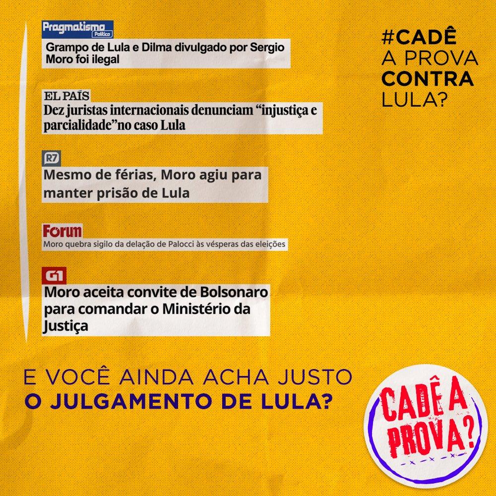 Ainda há dúvidas de que Lula é um preso político? Moro coordenou politicamente a Lava Jato e agora é nomeado ministro do candidato mais benefíciado, indicando a juíza que cuida do novo depoimento do presidente. #CadêAProvaContraLula