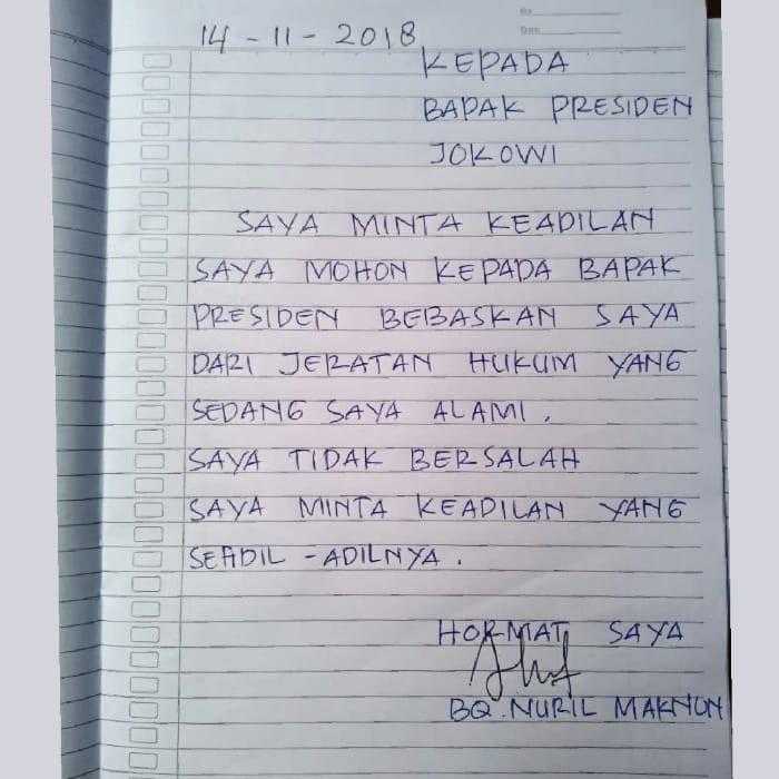 Surat dari Baiq Nuril untuk Jokowi (Twitter @MuhadklyAcho)