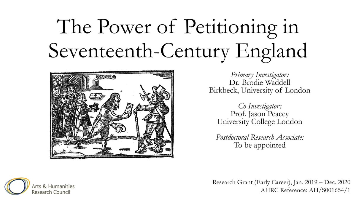 JOB! Im hiring a postdoctoral research associate to work on The Power of Petitioning in 17th-Century England. 12-months, full-time from January 2019. Deadline Nov 29th. Apply here: cis7.bbk.ac.uk/vacancy/postdo…