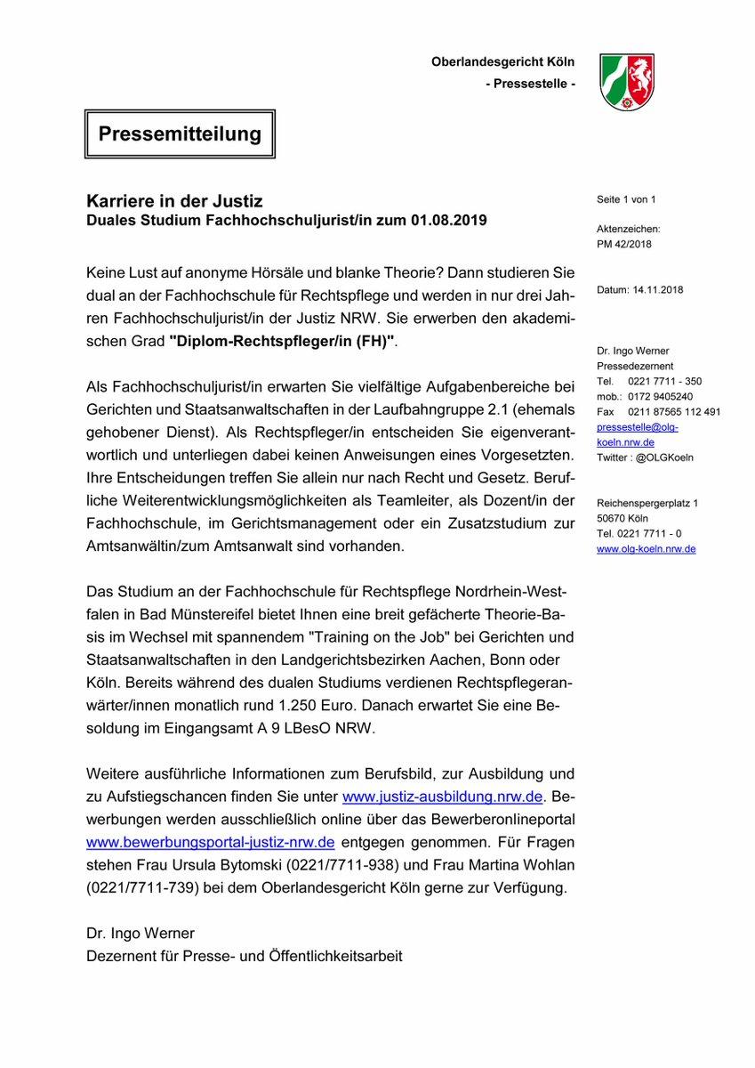 Bewerbung Diplom Rechtspfleger Ungekundigt