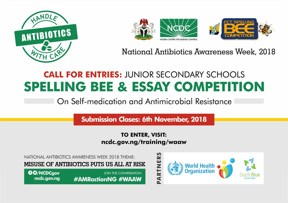 Thesis Essay  Students To Submit An Essay On Self Medication  Antimicrobial  Resistance In Humans Animals  Environment See More  Httpsncdcgovngtrainingwaaw  Essay Writing For High School Students also Business Cycle Essay Ncdc On Twitter Submission Deadline For Ncdc Spellingbee  Essay  Should The Government Provide Health Care Essay