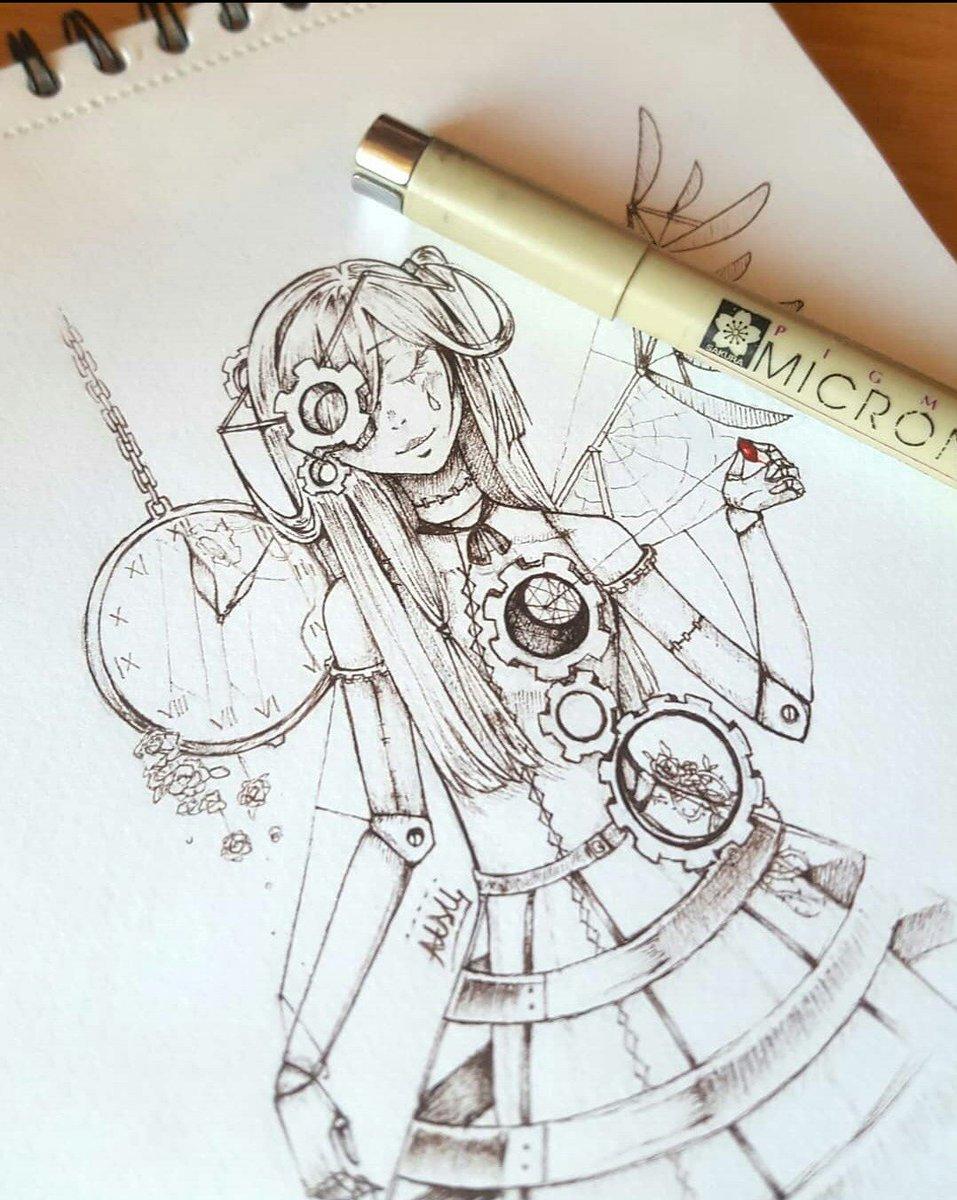 Doodle sketch drawing manga art traditionalart inktober steampunk doll
