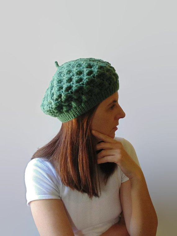 54c89ecbab8 Green Lace Beret  KnittedHat  SlouchyHat  WoolBeret  WomenBeret   HandKnitHat  FrenchBeret  BeretHat  WinterHat  GreenBeret  ReadyToShip   34.00 ...