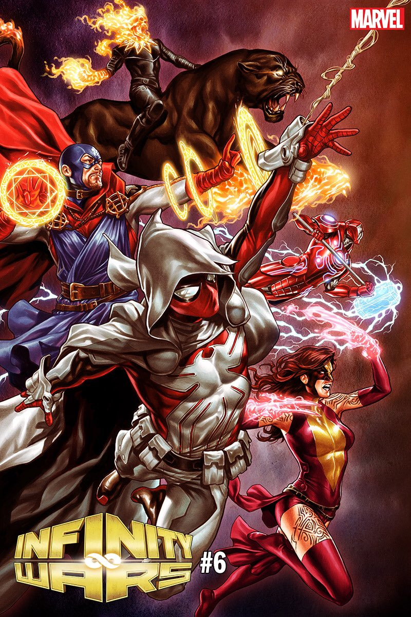 Unannounced #MarkBrooks variant of #InfinityWars #6!  Very #InfinityWarps-y...  #GhostPanther #SoldierSupreme #WeaponHex #ArachKnight #IronHammer   #MarvelCosmic