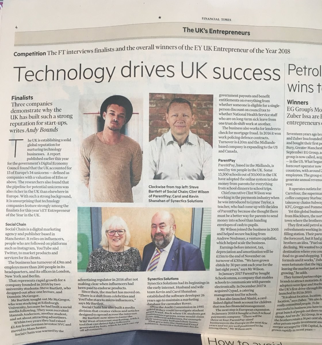 Founded in 2014. Funding targets reached. 5 Offices around the world. A team of over 200. Our client @stevebartlettsc and his digital marketing agency @TheSocialChain grace the @FinancialTimes today as they put the spotlight on successful UK start-ups. ft.com/content/dc683b …