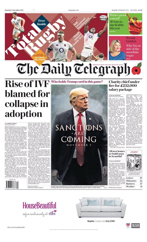 """Saturday's Telegraph: """"Rise of IVF blamed for collapse in adoption"""" (via @MsHelicat) #tomorrowspaperstoday"""