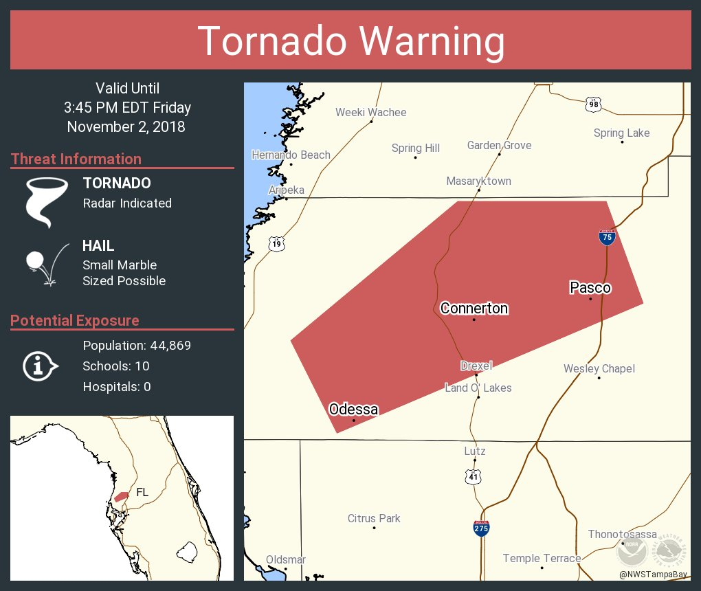 Odessa Florida Map.Nws Tampa Bay On Twitter Tornado Warning Including Odessa Fl