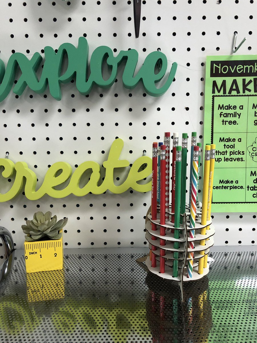 Thanks to #inventionland for sending us a unique pencil holder for our maker space!