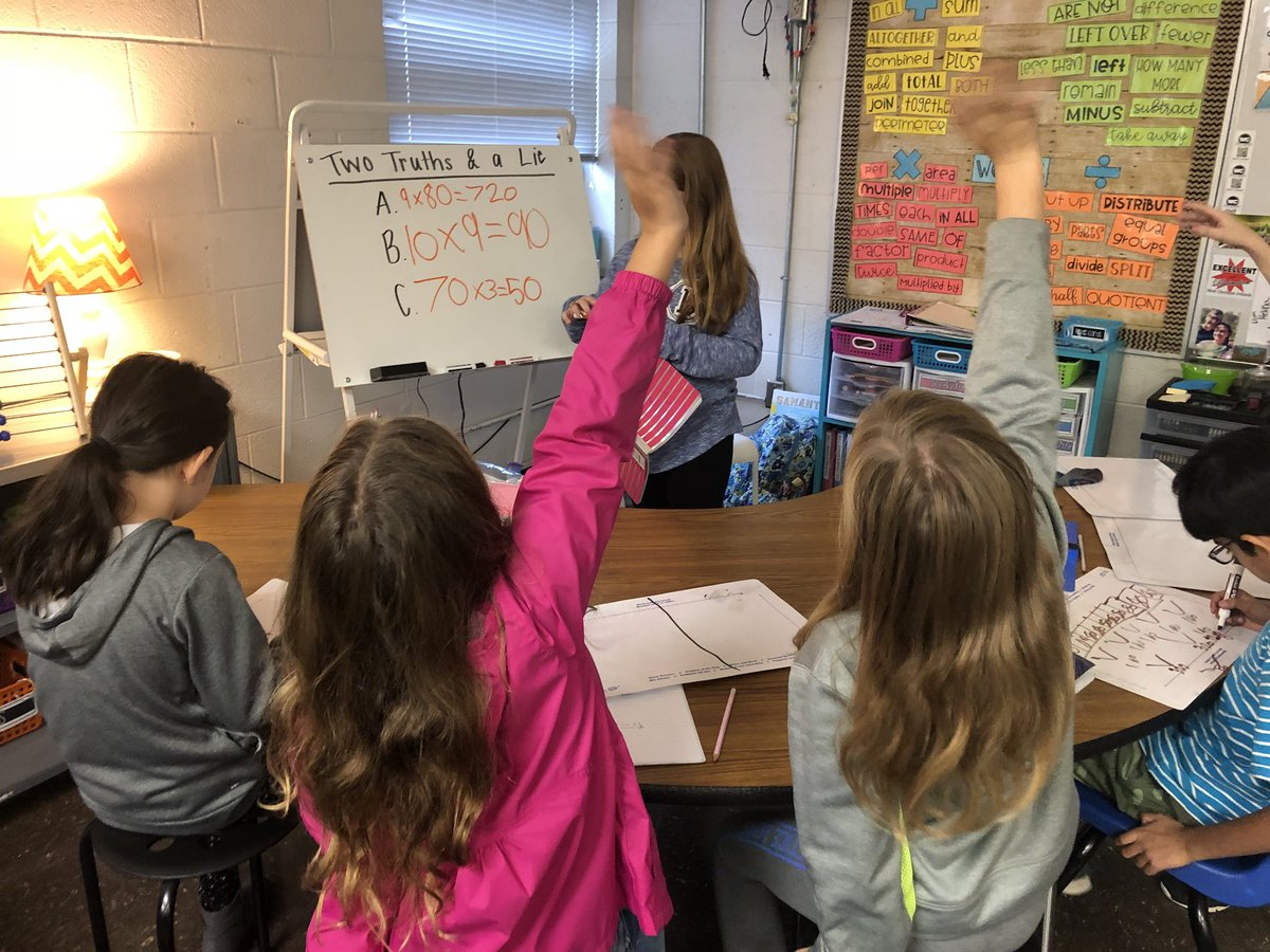 This week was all about multiplying multiples of ten! Ss played 2 Truths & A Lie, completed assignments on tenmarks, wrote word problems, and modeled with manipulatives. @mathbarb @CloughPikeElem @WestCler #WCConnects