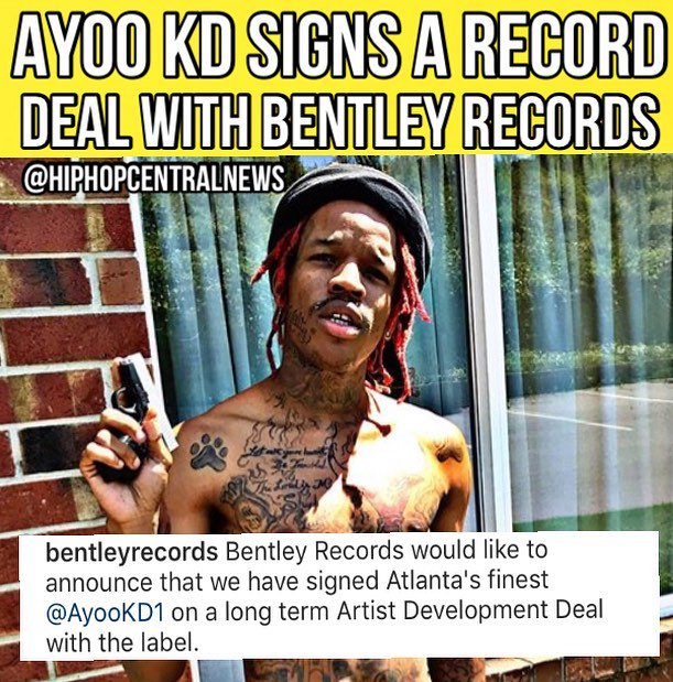 Bentley Records would like to announce that we have signed Atlanta's finest @AyooKd on a long term Artist Development Deal with the label. The news has apparently caused a major nervous breakdown to @6ix9ine,  one of KD's arch rivals!  #BentleyGang lets welcome the rising star!