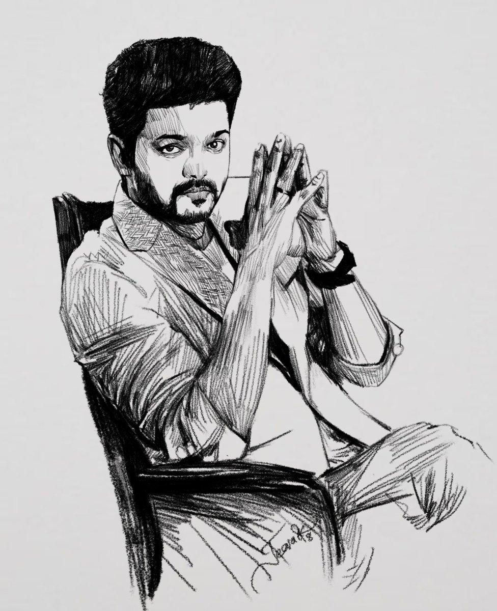 Todays pencil sketch our thalapathy vijay anna ix27