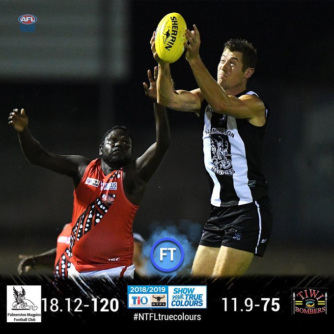 FT MPL: Palmerston defeated Tiwi Bombers Despite it being very difficult for the Bombers to get back into the match, it was still a very hot contest in the final quarter. Kyle Emery kicked two goals which took his total to seven for the match. #NTFLtruecolours Photo