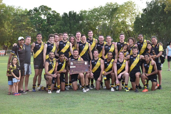"""It's great tradition when @NFCTigers & @darwinbuffs play for the Tye-Bonson Memorial Shield, in recognition of John """"Bubba"""" Tye & Don Bonson Jnr who were legends of the clubs. David Paull was named as the Buffs' best on & Shaun Wilson picked up Nightcliff's medal #NTFLtruecolours Photo"""