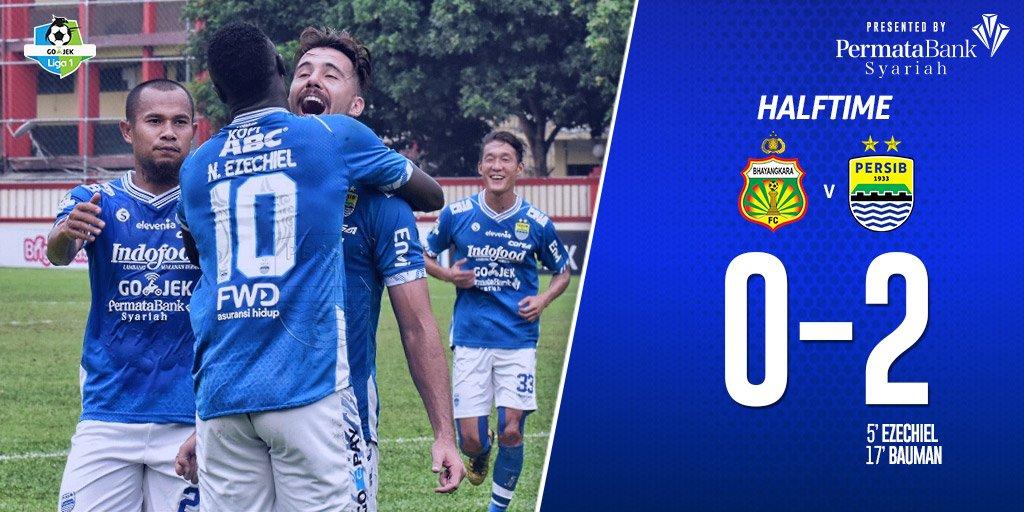 Skor di babak pertama, Persib unggul dua gol dari Bhayangkara FC (Twitter @persib)
