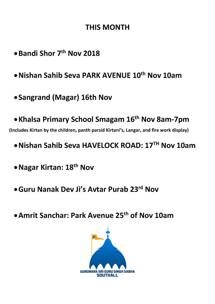 @sgsssouthall This busy busy month of November.. come join your Guru is celebration.