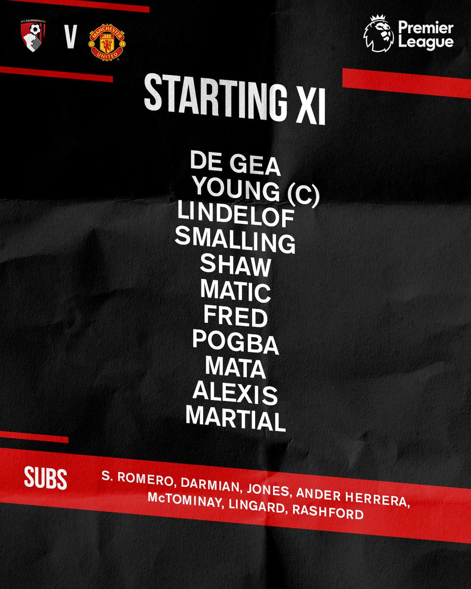 The #BOUMUN team news is in! Here's your #MUFC starting XI...