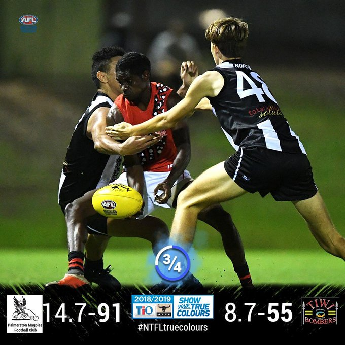 3/4T MPL: Palmerston lead Tiwi Bombers Palmerston started the quarter with the first three goals through. Both teams then had the momentum back and forth but each team were holding on in the last line of defence with goals difficult to score. #NTFLtruecolours Photo