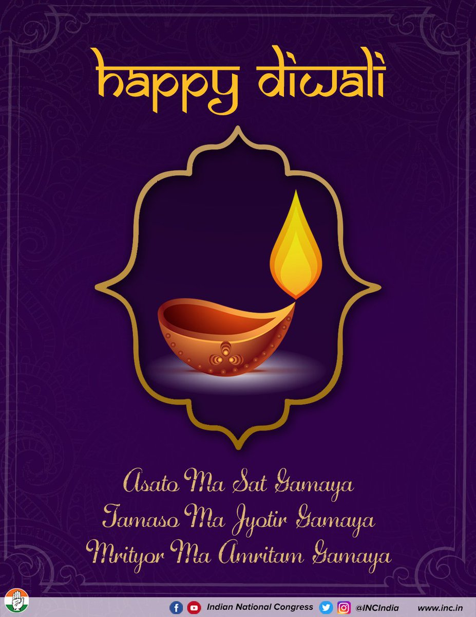 May this Deepavali bring you and your families endless peace, love & happiness. May the light of democracy shine brightly on our country & may we continue to grow as one. #HappyDiwali from the Congress family.