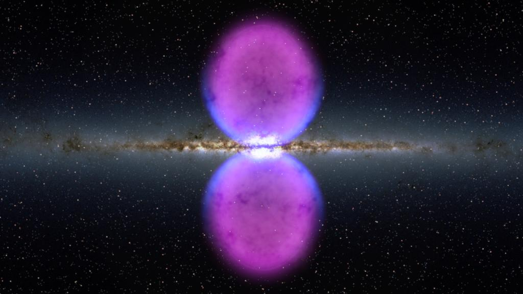 Do you like blowing bubbles? So does our Milky Way galaxy—although these bubbles might be a little bigger than what you're used to. Two bubbles, each 25,000 light-years tall, are extending above & below the galaxy like the two halves of an hourglass. More:  https://t.co/wYvlkSBGUO