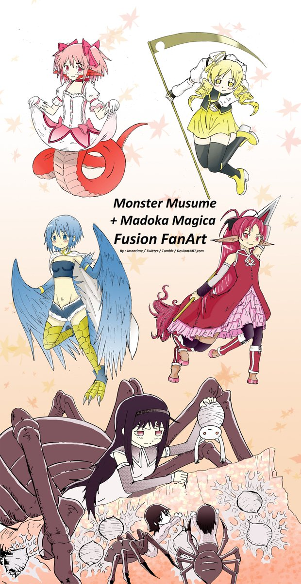 Jmantime On Twitter Old Anime Art In Color Monster Musume Madoka Magica Fusion Drew This Back In 2016 But Forgot To Finish It Madoka Magica Sayaka Homura Kyoko Mami Monmusu