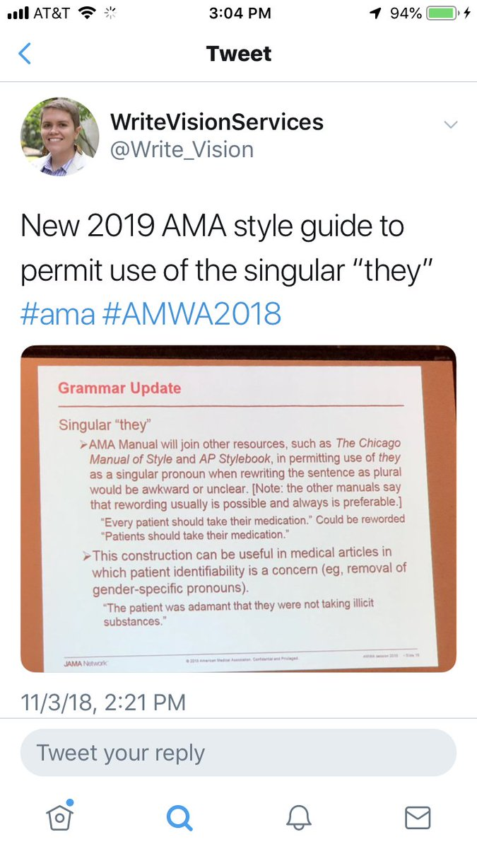 "BELS on Twitter: ""News fresh from #AMWA2018: The upcoming 11th edition of  the AMA [American Medical Association] Manual of Style will permit the use  of the ..."