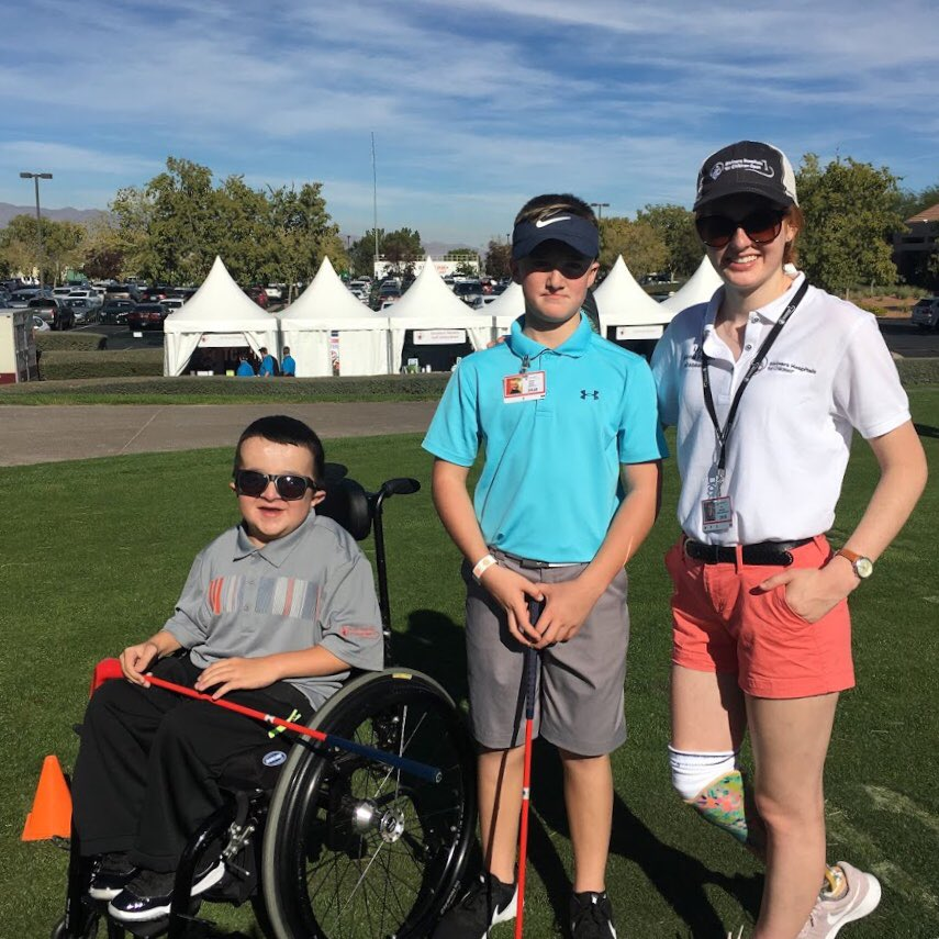 Alec and Connor, patients of our Chicago Shriners Hospital,  enjoying a special experience at 2018 @ShrinersOpen #Shrinershospitalsforchildrenopen #pga #golf