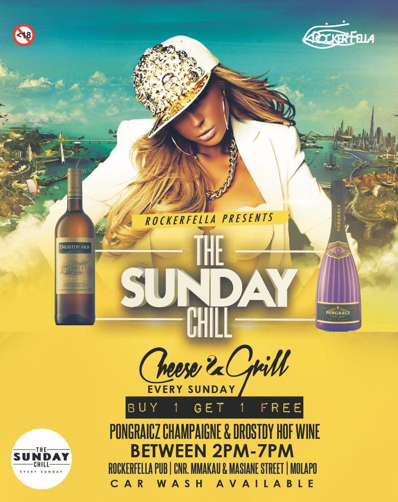 """Rockerfella Soweto Pres. THE SUNDAY CHILL - Sun, 04 Nov   """"CHEERS & GRILL""""  Who's Keen On Hanging?   BUY ONE GET ONE FREE PONGRACZ CHAMPAIGN🥂 & DROSTDY HOF WINE🍷 BETWEEN 12:00PM & 19:00PM  VENUE : RockerFella Soweto TIME: 2:00PM - 2:00AM DAMAGE: FREE ALL NIGHT   #THESUNDAYCHILL"""